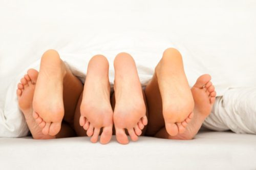 six feet while threesome in bed